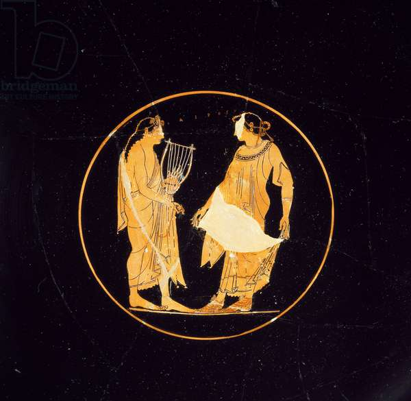 Greek Art: terracotta kylix with red figures painted by Euphronios (6th-5th century BC): Thesee facing one of the young girls saved from the maze of Minotaur. Diameter 32 cm from Vulci (Doganella) London British museum
