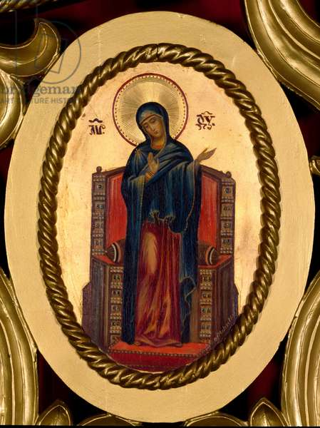 Mary annunciation. Oval painting on anonymous dorus background of the Russian school. Rome, Russicum (Russian College)