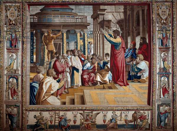 The apostle Saint Paul preaching in the aeropage of Athenes Tapestry after painting on cardboard by Raffaello Sanzio dit Raphael (1483-1520), beginning of the 16th century Sun. 4,95x6,45 m Mantua, ducal palazzo (Mantua)