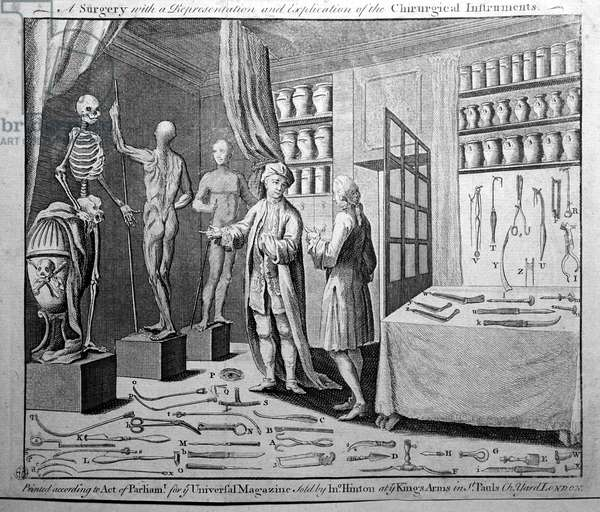 A Surgeon and a chart of surgical instruments (engraving)