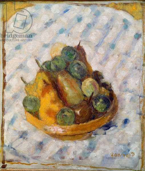 Fruit Still life of pears and plums. Painting by Pierre Bonnard (1867-1947) 1920 Zurich, Collection Gustav Zumsteg