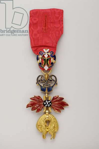 Order of the Golden Fleece: The Austrian Golden Fleece - Badge belonging to Prince Karl Anselm of Thurn und Taxis (1733-1805) who was named Knight of the Golden Fleece in 1775 - End of the 18th century - Gold and Emals - H: 8.6 cm; W: 5.6 cm; Weight: 84 g - Private collection