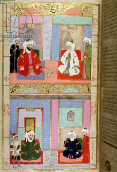 Ottoman Empire: representation of the first four caliphs of Islam: Abu Bakr (Aboubeker or as-Siddiq, as Siddiq), Omar, Othman and Ali. 16th century Turkish miniature. Museum of Turkish-Islamic Arts Istanbul, Turkey