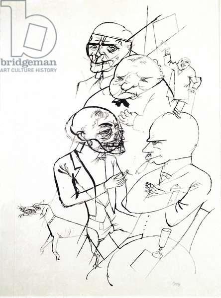Opposes (Contrast) (Gegensatze) - Drawing by George Grosz (1893-1959), 1917. Stuttgart, Graphic Designer Sammlung of the Staatsgalerie