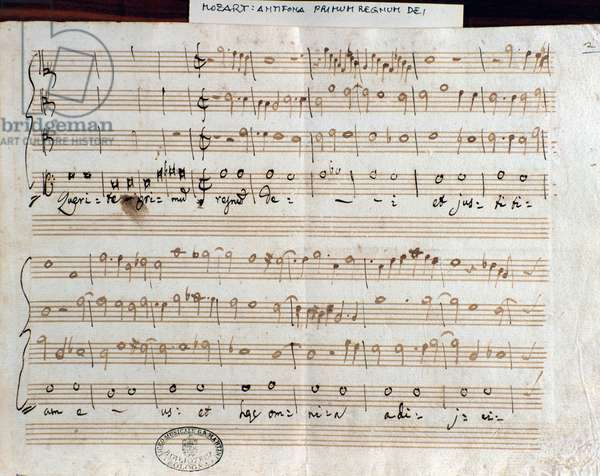 Sheet music page of Querite primum regnum Dei by Mozart to obtain the title of Accademico filarmonico (1770)