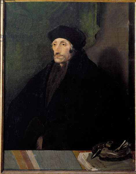 Portrait of Didier Erasme (Erasmus of Rotterdam) (1469 - 1536), Dutch humanist - Painting attributed to Holbein Hans le Jeune (1497-1543) - Naples, museo di Capodimonte - Portrait of Desiderius Erasmus of Rotterdam (1469-1536), theologian, philosopher ans dutch humanist - Painting by Hans Holbein the Younger (Hans Holbein the Younger 1497-1543) - Naples, Museo di Capodimonte © Luisa Ricciarini/Leemage