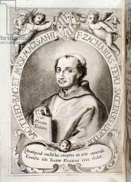 """Portrait of Zaccaria (Zacharias) Tevo pulls from """""""" Il musico testore"""""""", 1706 - Bologna, civico museo musicale"""