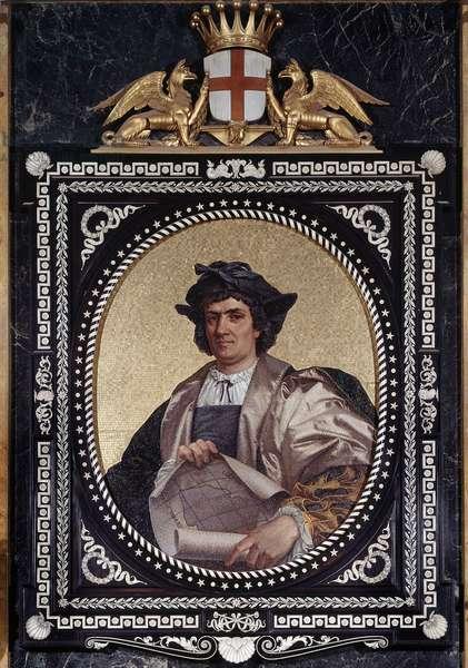 Portrait of the Italian navigator Christopher Columbus (Christopher Columbus, Cristoforo Colombo, Cristobal Colon) (1451-1506) Mosaique, 1867 Genes, Musei di Strada Nuova (ex Palazzo Tursi)