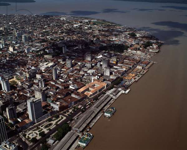 Aerial view of the city of Belem with the port of Baia de Guajara on the Rio Negro River, State of Para, Brazil - Aerial view of the city of Belem with the port in Baia de Guajara in Rio Negro, Brazil, 1983 - Photography