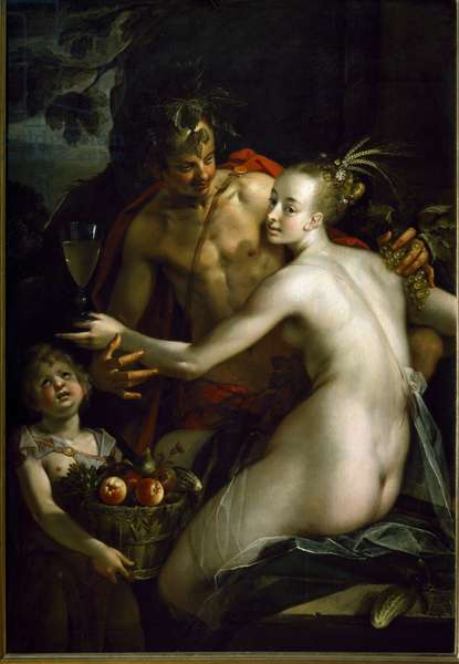 Bacchus, Ceres and Amour (Painting, 16th-17th century)