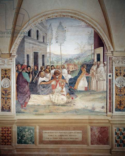 St Benedict carries the body of Christ on the body of the monk that the earth refuses to bury fresco of the cloitre made by Antonio Bazzi dit il Sodoma (1477 - 1549) recounting the life of Saint Benedict of Nursie (480 - 567) founder of the Order of Benedichi ictins 1503 - 1508 Abbey of Monte Oliveto Maggiore, Florence