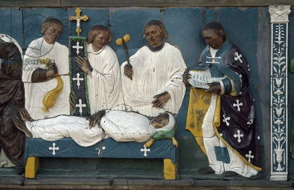 Burying the dead, detail, 1526-28 (polychrome terracotta)