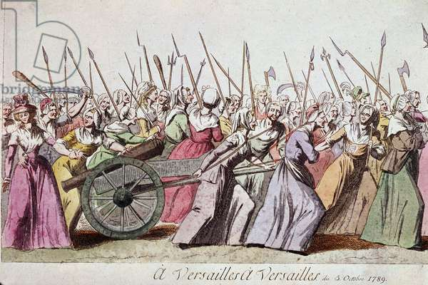 "French Revolution: """" A Versailles, a Versailles"""" La marche des femmes sur Versailles 5/10/1789 (March of the Women on Versailles, Paris, 5th October 1789) Paris musee Carnavalet"
