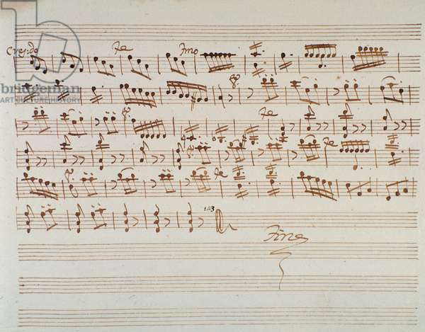 """Page of musical score of first violin in """""""" Mithridate"""""""" overture by Austrian composer Wolfgang Amadeus Mozart (1756-1791), 1770. Sheet music page for the first violin in the opening of """""""" Mitridate, re di Ponto, K. 87 (74a) (Mithridate, King of the Pont)"""""""" opera by W. A. Mozart. 1770 Milan, Biblioteca del Conservatorio"""