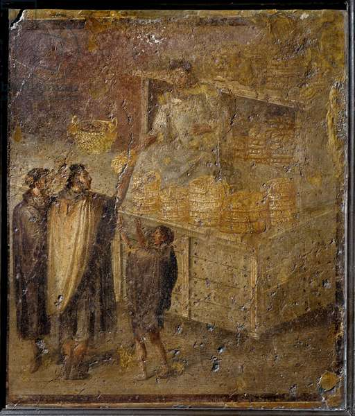 Roman art: scene depicting a baker selling bread. Fresco from the house of the Baker in Pompei. 1st century AD. Naples, Museo Archeologico Nazionale