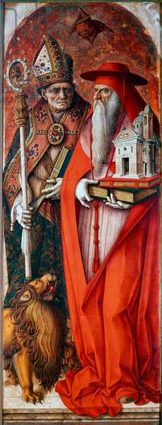 Polyptych of the Cathedrale of Camerino (Duomo di Camerino): Saint Jerome and Saint Augustine. Painting by Carlo Crivelli (1430/35-1494/1500). Tempera on wood, 187x71cm. Venezia, Gallerie del 'Accademia