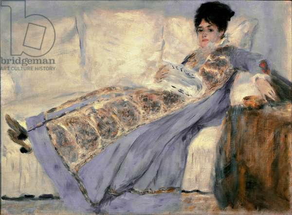 Portrait of madame Monet (born Camille Doncieux,  reading the Figaro newspaper), 1874 (oil on canvas)
