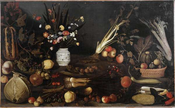 Still life with flowers and legumes Painting attributed to Caravaggio called Caravaggio (Michelangelo Merisi) (1571-1610). Rome Galleria Borghese