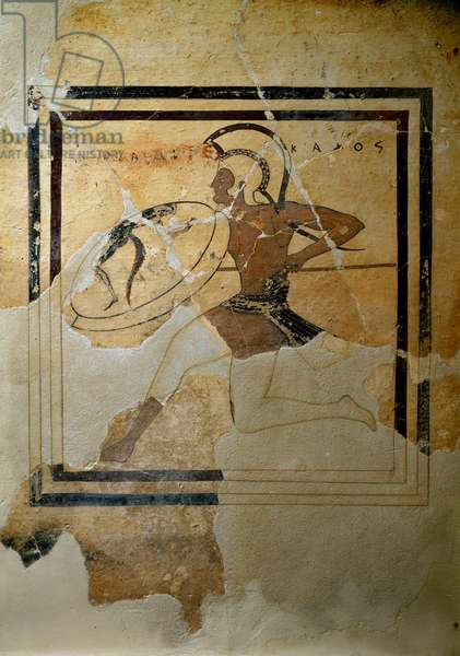 """Greek Art: """""""" pynax (votive tablet) of terracotta representing a hoplite in full race"""""""""""" 520-510 BC. Sun. h. 65,5 cm Athenes, Museum of the Acropolis (inv. 67)"""