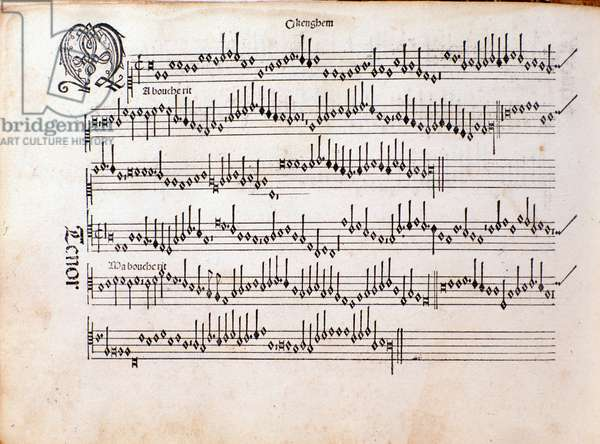 Page of musical score of Harmonice Musices Odhecaton by Ottaviano Petrucci (1501)