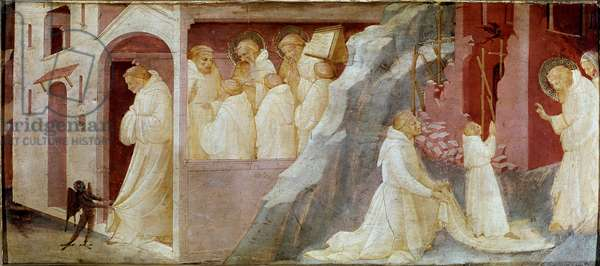 St Benedict delivers a monk from temptation and raising a young monk from the dead (Fresco, 14th century)