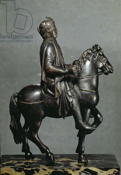 Charlemagne (742-814) or his grandson Charles II the Bald (823-877) on horse Bronze sculpture from the cathedral of Metz. 9th century Sun. 23 cm Paris, Louvre Museum