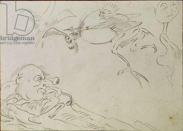 The Terrible Sentinel Drawing by James Ensor (1860-1949) (ec.belg.) Paris, a national museum of modern art