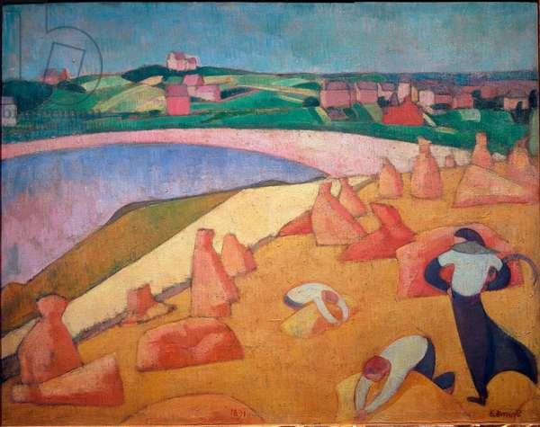 "Harvest by the sea, Saint Briac sur mer, 1891, Painting by Emile Bernard (1868-1941), Oil on canvas, Dim: 0,73 x 0,92m, Paris, Musee d'Orsay - """" Harvest Time by the Sea"", 1891, Oil on canvas by Emile Bernard (1868-1941), 0,73 x 0,92m, Paris, Musee d'Orsay"