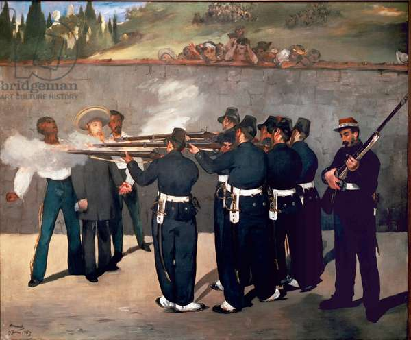 The execution of Emperor Maximilian. Shooting of Maximilian I of Mexico on June 14, 1867. Painting by Edouard Manet (1832-1883), 1867-1868. Oil on canvas cm 252x305cm. Mannheim, Kunsthalle