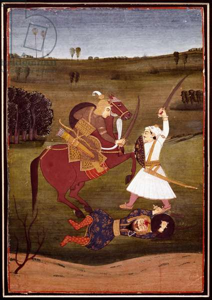 Battle between a prince on horseback and a warrior. A demon lying on the ground, 1765 (miniature)