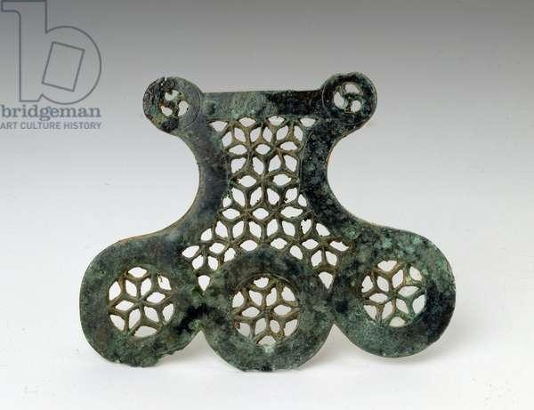 Celtic art: bronze decorative element from the tomb IV, 1, Leglise-Gohimont (Leglise Gohimont), Luxembourg. 450-400 BC. Brussels, Service des Excavations de la Region Wallonne