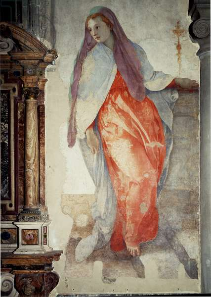 Annunciation. Detail of the Virgin - Fresco, 16th century