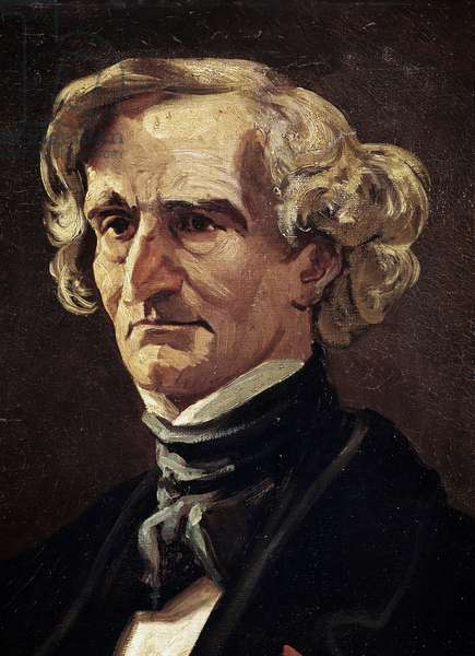 Portrait of Hector Berlioz, French composer, detail (oil on canvas, 19th century)