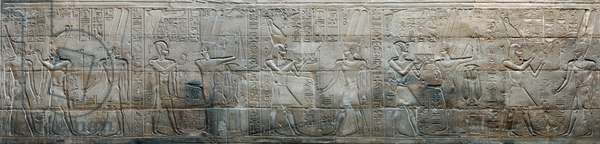 Relief depicting Alexander the Great making offerings to Amon-Re and Min, Chapel of Alexander the Great, Luxor Temple (photo)