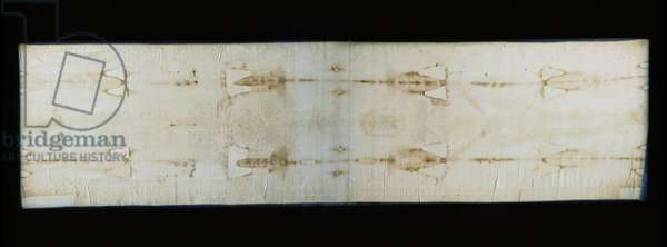 The holy shroud of Turin (or shroud or sacra sindone), linen sheet showing traces (supposedly those of Christ) of torture of a body. Royal Chapel of the Cathedrale Saint John the Baptist of Turin, Italy. - The Holy Shroud of Turin (sacra sindone), old linen cloth bearing the image (supposed to be those of Christ) of a tortured or cucified body. Royal Chapel of the Cathedral of Saint John the Baptist, Turin, Italy