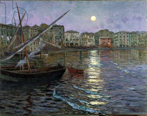 Poesia Lunare Port in the Moonlight (View of a port by moonlight) (oil on canvas)