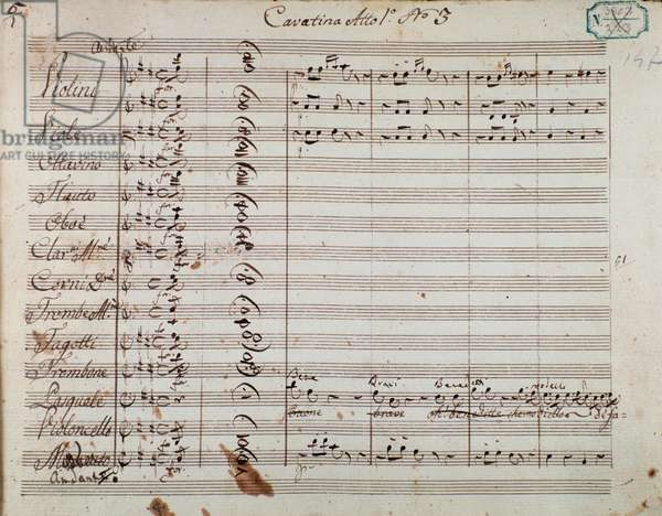 Page of musical score from Act I of the opera 'Olivo e Pasquale', by Gaetano Donizetti (ink on paper)