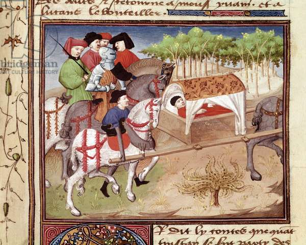 """Lucan wounds by Tristan Miniature taken from """""""" Romanesque du Chevalier Tristan"""""""" by the master Charles de Maine (Beroul version), 1440-1460 - Chantilly, Musee Conde"""
