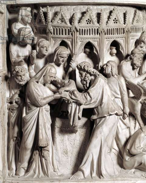 Detail of the reliefs of the Chair realized by Giovanni Pisano (1248-1314): the presentation of Jesus at the temple (Detail of the reliefs of the marble pulpit) 1302-1311 Cathedrale of Pisa (Duomo di Pisa), Italy