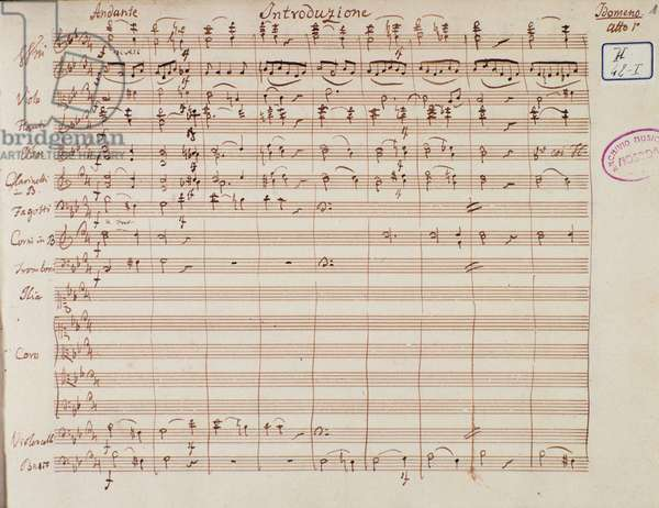 "Page of musical score of Lichtenthal version of """" Idomeneo, re di Creta"""" opera by Wolfgang Amadeus Mozart (1756-1791). Sheet music page for """" Idomenee, king of Crete"""" opera by Mozart adapted by Lichtenthal in 1843. 1843. Milan, Biblioteca del Conservatorio"