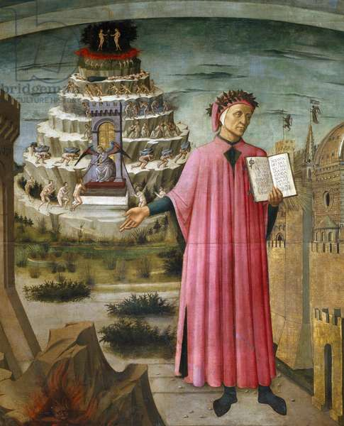 Dante Alighieri holding his poem the Divine Comedy. Near by him, hell, and the city of Florence, in the background the Purgatory and Paradise, 1465 (fresco)