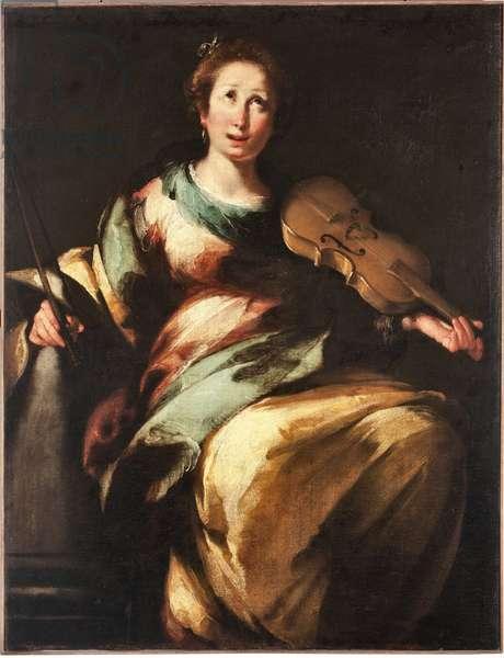 """Representation of Saint Cecilia or """""""" Allegorie de la Musique"""" (St cecilia or allegory of the Music) Painting by Bernardo Strozzi (1581-1644), 17th century Genes, Musei di Strada Nuova (inv n PB 296)"""