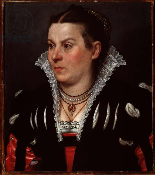 Portrait of Lady She has a necklace of lace and jewelry (Portrait of a rich lady) Painting by Giovan Battista Moroni (ca. 1529-1578) Dim 53x45,5 cm Florence, galleria palatina