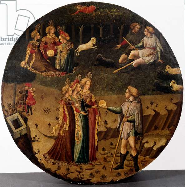 The Paris judgment. The shepherd Paris has to choose who he will give the golden apple to design the most beautiful of the three goddesses, Athena, Aphrodite or Hera. Painting of the Italian school of the 15th century Florence, Museo Nazionale del Bargello