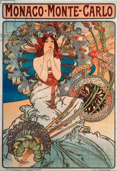 Advertising poster by Alphonse Mucha (1860-1939) for the railway line Monaco, Monte Carlo, 1897 - Dim 74x108 cm Advertising poster by Alphonse Mucha for railway lines between Monaco and Monte Carlo, 1897 - Private collection