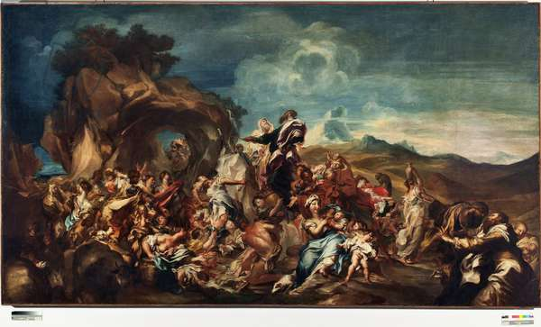 Moses Striking Water from the Rock Painting by Gregorio De Ferrari (1647-1726) Genes, Musei di strada nuova