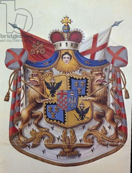 Coat of Arms of Barbiano Belgiojoso D'Este (colour litho)