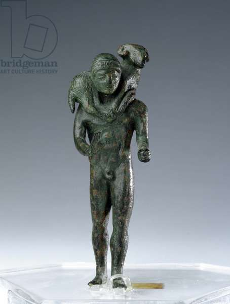 Bronze kriophoros (Nude male figure with ram hold over the shoulders), from Metaponto, urban sanctuary