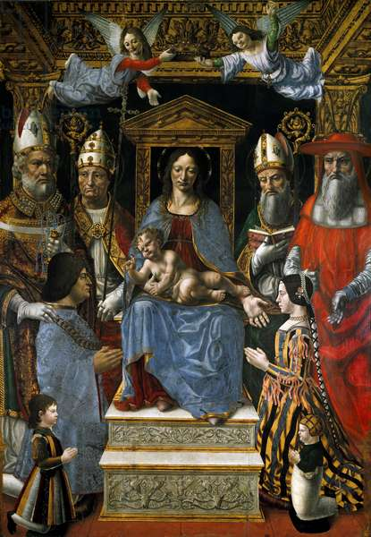 Pala Sforzesca (Sacred conversation): Virgin has the child on the throne surrounded by angels and the four Peres of the Church (Saint Ambrose, Saint Gregoire, Saint Jerome and Saint Augustine). Kneeling down, the commander Ludovic Marie Sforza said the More (Ludovico Maria Sforza detto il Moro) (1452-1508) and his wife Beatrice d'Este (1475-1497), with their children Cesare Gallerani and Ercole Massimiliano. Painting of the Master of La Pala Sforzesca (active 1480 to 1520), 1494. Oil on wood, 230 x 165 cm. Pinacoteca di Brera Milano.