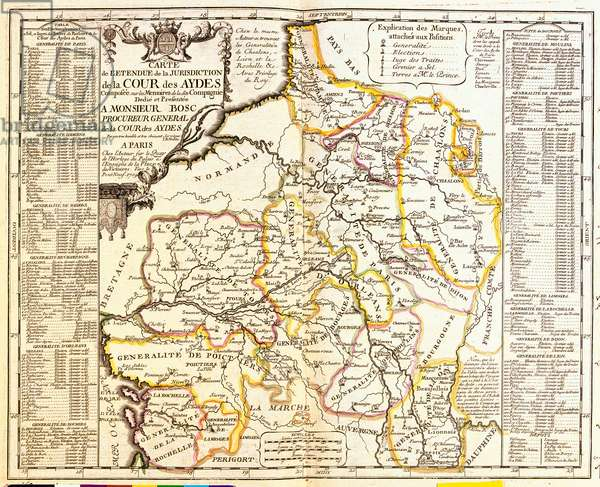 "Map of French territories under tax, 1709, from ""Le Theatre du Monde"" by Jean-Baptiste Nolin, published 1717 (hand-coloured engraving)"